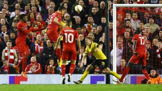 Dejan Lovren of Liverpool scores the winning goal of the game 4-3 during the UEFA Europa League Quarter Final Second Leg football match between Liverpool and Borussia Dortmund on April 14, 2016 played at Anfield stadium in Liverpool, England - Photo Matt West / Backpage Images / DPPI