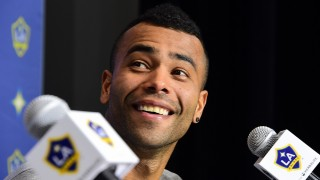 New Los Angeles Galaxy's players, English footballer Ashley Cole attends at press conference at the StubHub Center, February 5, 2016 in Carson, California.  / AFP PHOTO / ROBYN BECK