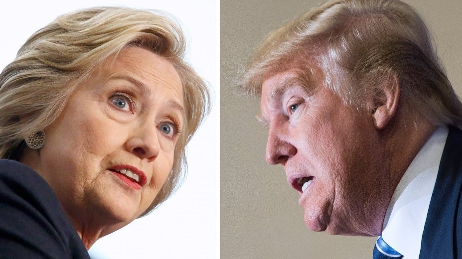 (FILES) This file photo taken on April 11, 2016 shows Democratic presidential candidate Hillary Clinton and Republican challenger Donald Trump. It's the paradox of the 2016 US presidential elections: Hillary Clinton and Donald Trump are virtually assured of facing off against each other in November, and yet both are widely unpopular. Two thirds (65 percent) of voters have unfavorable opinions of the Republican billionaire, and only a quarter (24 percent) think positively of him, according to a recent Wall Street Journal/NBC survey.    / AFP PHOTO / dsk