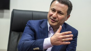 TO GO WITH AFP STORY BY RACHEL O'BRIEN The president of the ruling party VMRO-DPMNE and former Prime Minister, Nikola Gruevski gestures as he speaks during an interview in Skopje on May 13, 2016.  / AFP PHOTO / Robert ATANASOVSKI
