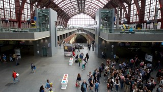 Antwerpen Centraal train station pictured during a strike of railway unions CGSP Cheminots and CSC Transcom, on Thursday 26 May 2016, at the Antwerpen Centraal train station. Unions ACV and ACOD didn't call on their members to join the strike. BELGA PHOTO NICOLAS MAETERLINCK