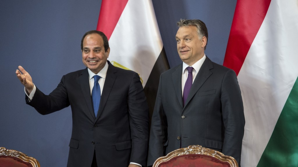BUDAPEST, HUNGARY - JUNE 05 :   Hungarian Prime Minister Viktor Orban (R) and Egyptian President Abdel Fattah el-Sisi (L) attend a press conference after a meeting in Budapest, Hungary on June 05, 2015. Hungary Prime Minister's Press office / Anadolu Agency