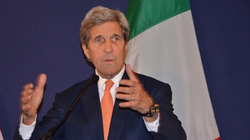 VIENNA, AUSTRIA - MAY 16: US Secretary of State John Kerry (C) delivers a speech during a joint press conference with Italian Foreign Minister Paolo Gentiloni (not seen) and Prime Minister of Libya Fayez al-Sarraj (not seen) after the ministerial meeting on Libya in Vienna, Austria on May 16, 2016. Foreign ministers from Europe and the Middle East are meeting in Vienna to discuss the strengthening of support for the UN-backed Libyan government. Hasan Tosun / Anadolu Agency