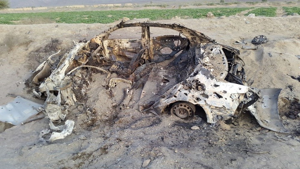 QUETTA, PAKISTAN - MAY 22 :  Wreckage of a destroyed vehicle in which Mullah Mohammad Akhtar Mansour was allegedly traveling in Noshki, Balochistan province is seen after it was hit by US drone on May 22, 2016.  According to reports a US drone attacked a vehicle said to be carrying Mullah Mansoor and his driver in Noshki, Balochistan province, Pakistan. Barkat Tareen  / Anadolu Agency