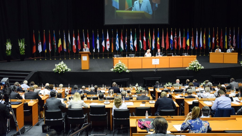 """TIRANA, ALBANIA - MAY 29: Albanian Defense Minister Mimi Kodheli delivers a speech during the """"Defense and Security Commission Panel"""" as part of the NATO Parliamentary Assembly Spring session in Tirana, Albania on May 29, 2016.  Olsi Shehu / Anadolu Agency"""