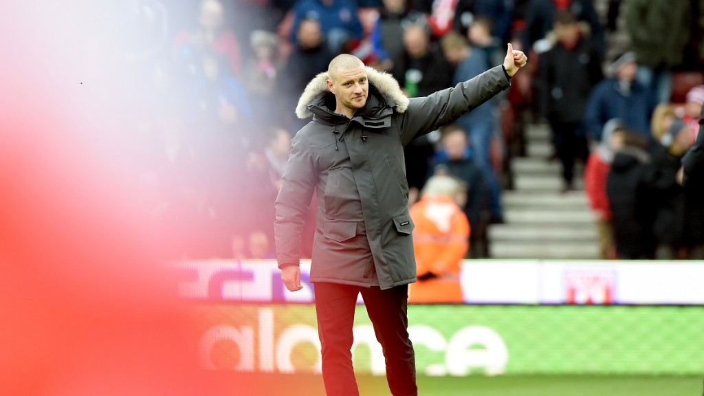 Andy Wilkinson Salutes the fans as he retires from the game through injury before the Barclays Premier League match between Stoke City and Aston Villa at the Britannia Stadium on February, 27 2016 - Photo Greig Cowie / BPI / DPPI
