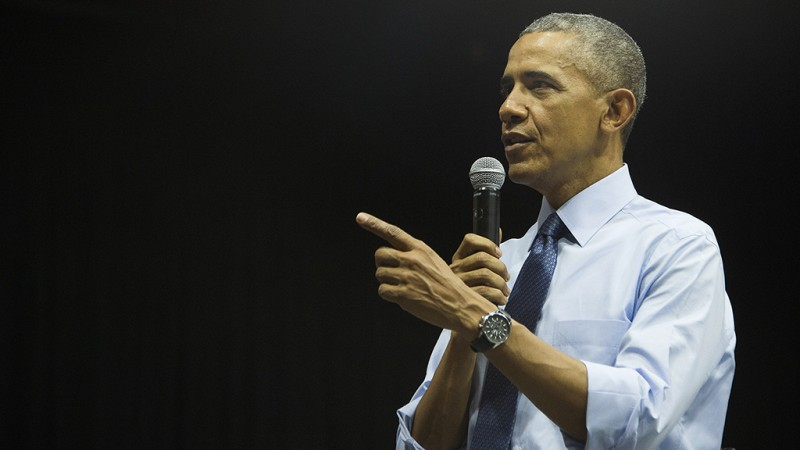 US President Barack Obama speaks at the Young Southeast Asian Leaders Initiative town hall event in Ho Chi Minh City on May 25, 2016.Obama urged communist Vietnam on May 24 to abandon authoritarianism, saying basic human rights would not jeopardise its stability, after Hanoi barred several dissidents from meeting the US leader. / AFP PHOTO / JIM WATSON