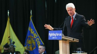 PETERSON,  NJ - MAY 13: Former US President Bill Clinton speaks during a meeting at Passaic County Community College in support of US Democratic presidential candidate Hillary Clinton on May 13, 2016, in Peterson, New Jersey. (Photo by Cem Ozdel/Anadolu Agency/Getty Images)