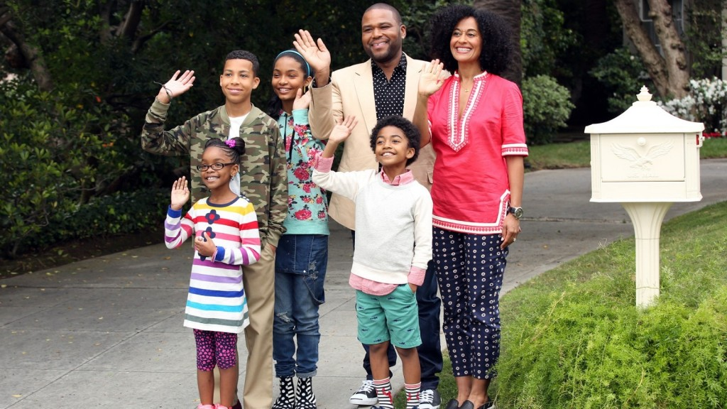 """BLACK-ISH - ABC's new family comedy, """"black-ish,"""" takes a fun yet bold look at one man's determination to establish a sense of cultural identity for his family. The series stars Anthony Anderson, Tracee Ellis Ross and special guest star Laurence Fishburne. (ABC/Adam Taylor)MARSAI MARTIN, MARCUS SCRIBNER, YARA SHAHIDI, ANTHONY ANDERSON, MILES BROWN, TRACEE ELLIS ROSS"""