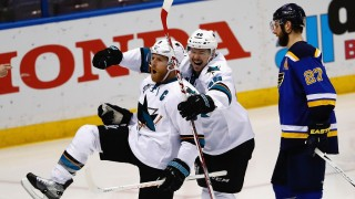 ST LOUIS, MO - MAY 23:  Joe Pavelski #8 of the San Jose Sharks celebrates with Tomas Hertl #48 after scoring a third period goal against the St. Louis Blues in Game Five of the Western Conference Final during the 2016 NHL Stanley Cup Playoffs at Scottrade Center on May 23, 2016 in St Louis, Missouri.  (Photo by Jamie Squire/Getty Images)