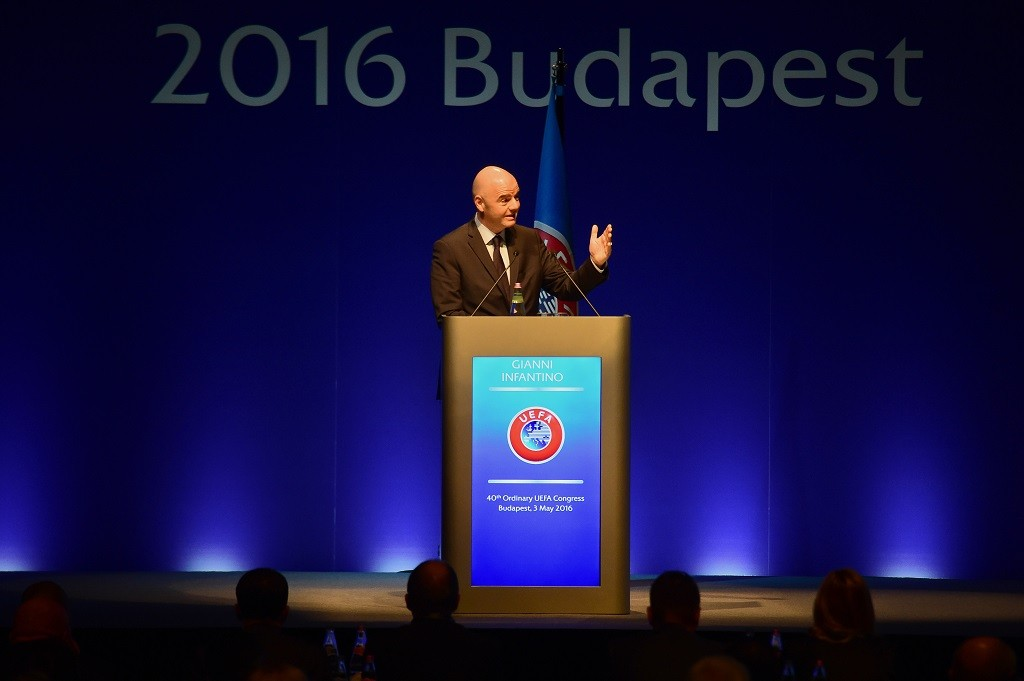 FIFA President Italian-Swiss Gianni Infantino gives a speech during the 40th Ordinary UEFA Congress at the Hungexpo Fair Center in Budapest on May 3, 2016. Infantino appealed to Europe's wealthy football nations to donate money they get from the world body to poorer countries. / AFP PHOTO / ATTILA KISBENEDEK