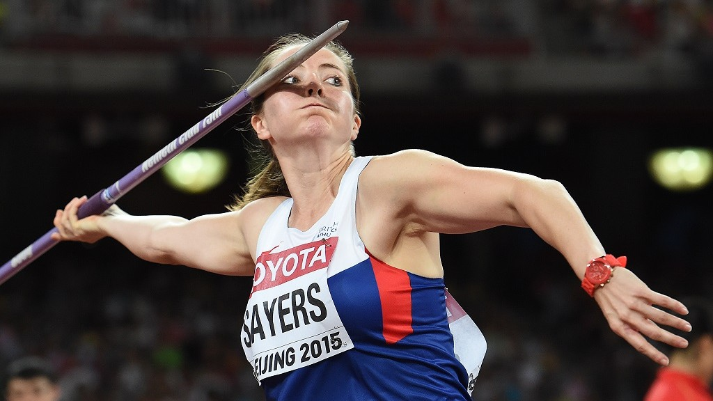 """Britain's Goldie Sayers competes in the qualifying round of the women's javelin throw athletics event at the 2015 IAAF World Championships at the """"Bird's Nest"""" National Stadium in Beijing on August 28, 2015.  AFP PHOTO / FRANCK FIFE / AFP PHOTO / FRANCK FIFE"""