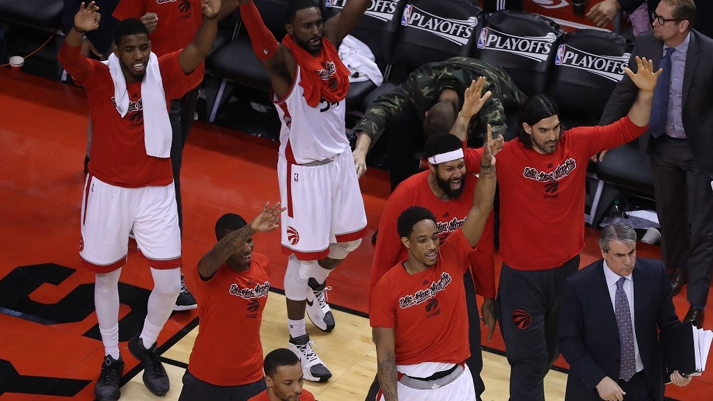 TORONTO, ON- MAY 15: The Raptors bench celebrates a run as the Toronto Raptors beat the Miami Heat in game seven of their Eastern Conference Semifinal   at the  Air Canada Centre in Toronto.    May 15, 2016.        (Steve Russell/Toronto Star via Getty Images)