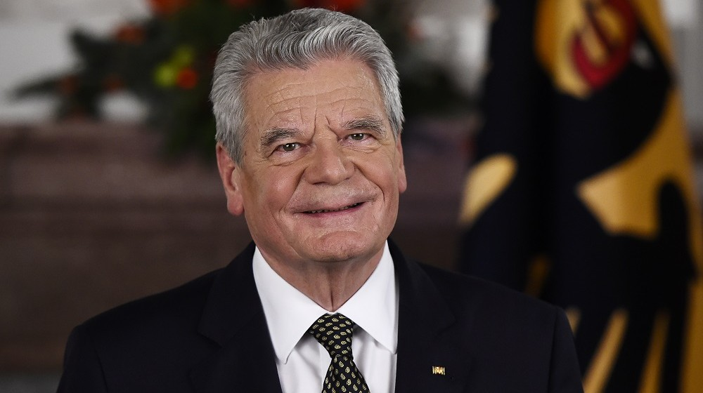 (FILES) This file photo taken on December 22, 2015 shows German President Joachim Gauck posing after the recording of the traditional Christmas message at Bellevue Palace in Berlin. Germany's 76-year-old president Joachim Gauck will not run for a second term next year because of health concerns and his age, the Bild newspaper said on June 4, 2016. / AFP PHOTO / POOL / TOBIAS SCHWARZ