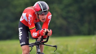 Belgian Stig Broeckx of Lotto Soudal pictured in action during stage one of the Baloise Belgium Tour cycling race, a 6km prologue individual time trial in Beveren, Wednesday 25 May 2016. BELGA PHOTO DAVID STOCKMAN