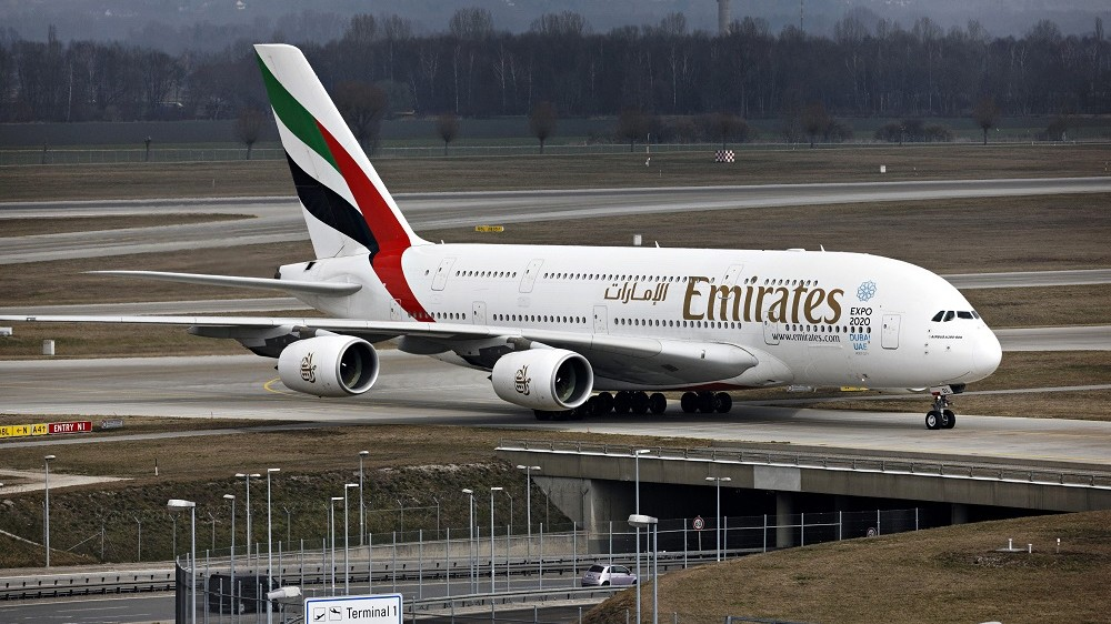 Emirates A380 800 Airbus taxing, Franz Josef Strauss Airport, Munich, Upper Bavaria, Germany, Europe.