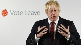 """Former London Mayor and """"Vote Leave"""" campaigner Boris Johnson speaks during a press conference in central London on June 24, 2016.Boris Johnson, who spearheaded the successful campaign for Britain to leave the European Union, said Friday there was no need to rush the process of pulling out of the bloc. / AFP PHOTO / POOL / Mary Turner"""