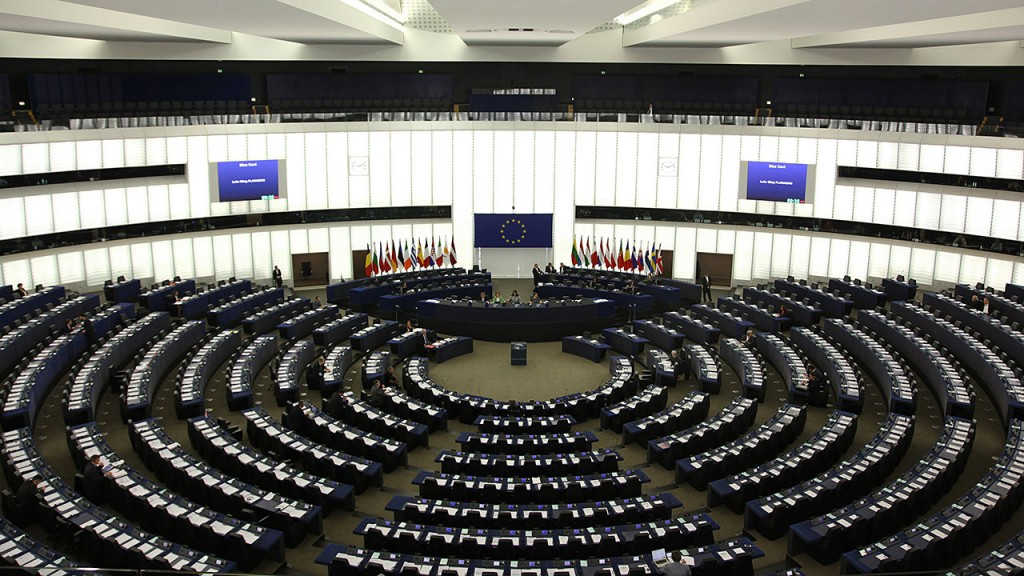 STRASBOURG, FRANCE - MAY 21:  The plenary room in the European Parliaments building  on May 21, 2015 in Strasbourg, France. The last plenary session of the week debates and votes motions for resolutions concerning the European policy for human rights and defence. (Photo by Michele Tantussi /Getty Images)
