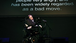 "British theoretical physicist professor Stephen Hawking gives a lecture entitled: ""A Brief History of Mine"" during the Starmus Festival on the Spanish Canary island of Tenerife on June 29, 2016 / AFP PHOTO / DESIREE MARTIN"