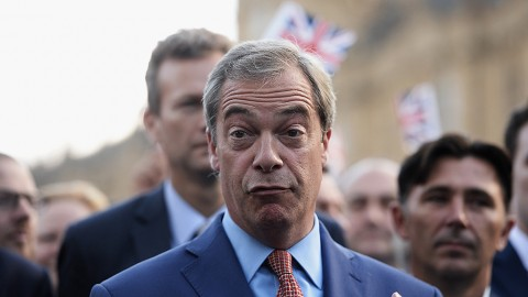 LONDON, ENGLAND - JUNE 24: Nigel Farage, leader of UKIP and Vote Leave campaigner, arrives to speak to the assembled media at College Green, Westminster following the results of the United Kingdom's EU referendum on June 24, 2016 in London, United Kingdom. The result from the historic EU referendum has now been declared and the United Kingdom has voted to LEAVE the European Union. (Photo by Mary Turner/Getty Images)