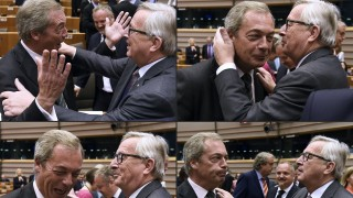 (COMBO) This combination of pictures created on June 28, 2016 shows United Kingdom Independence Party (UKIP) leader Nigel Farage (L) reacting as he meets with European Union (EU) Commission President Jean-Claude Juncker ahead of a plenary session at the EU headquarters in Brussels on June 28, 2016. European Commission chief Jean-Claude Juncker called on June 28 on Prime Minister David Cameron to clarify quickly when Britain intends to leave the EU, saying there can be no negotiation on future ties before London formally applies to exit.  / AFP PHOTO / JOHN THYS