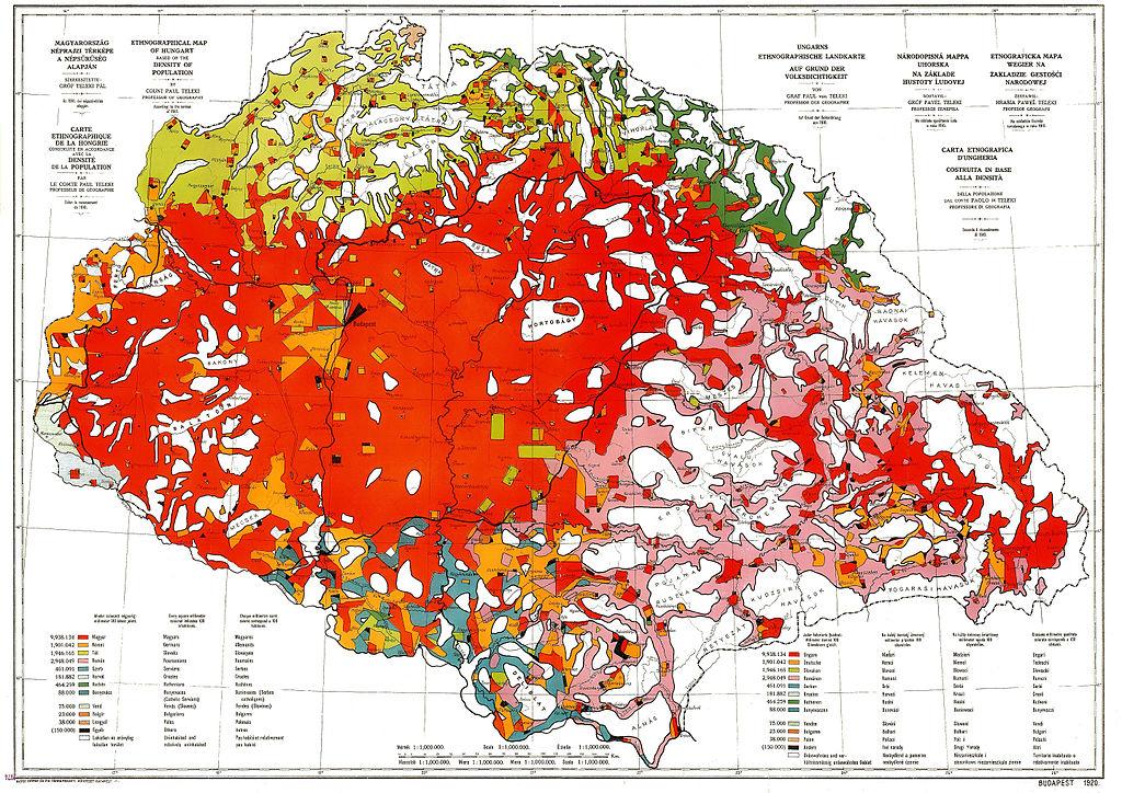 Teleki Pál híres vörös térképe az ország nemzetiségi megoszlásáról az 1910-es népszámlálás adatai alapján (Forrás: Wikipedia)