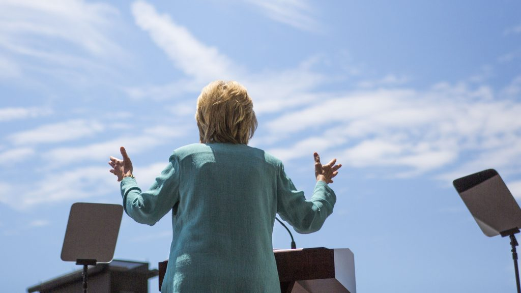 ATLANTIC CITY, NJ - JULY 6: Presumptive Democratic presidential nominee Hillary Clinton speaks at a rally on the boardwalk on July 6, 2016 in Atlantic City, New Jersey. Clinton addressed presumptive Republican presidential nominee Donald Trump's business record.   Jessica Kourkounis/Getty Images/AFP / AFP PHOTO / GETTY IMAGES NORTH AMERICA / Jessica Kourkounis
