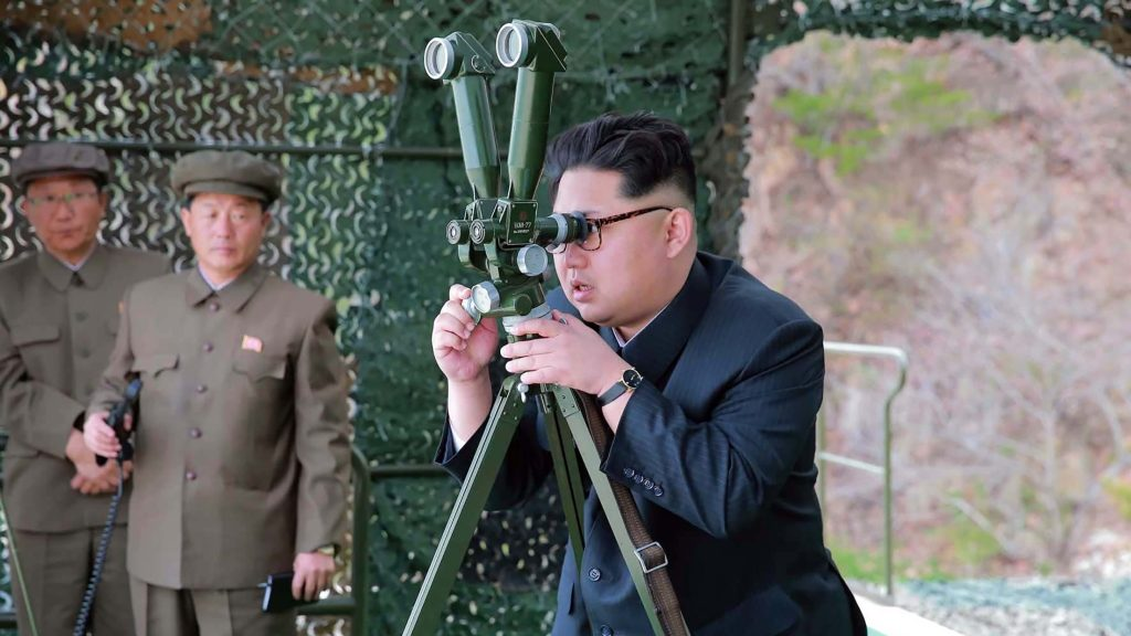 "This picture released from North Korea's official Korean Central News Agency (KCNA) on April 24, 2016 shows North Korean leader Kim Jong-Un (R) inspecting an underwater test-fire of a strategic submarine ballistic missile at an undisclosed location in North Korea on April 23, 2016. North Korean leader Kim Jong-Un hailed a submarine-launched ballistic missile (SLBM) test as an ""eye-opening success"", state media said on April 24, declaring Pyongyang has the ability to strike Seoul and the US whenever it pleases.  / AFP PHOTO / KCNA VIA KNS / KCNA /  - South Korea OUT / REPUBLIC OF KOREA OUT   ---EDITORS NOTE--- RESTRICTED TO EDITORIAL USE - MANDATORY CREDIT ""AFP PHOTO/KCNA VIA KNS"" - NO MARKETING NO ADVERTISING CAMPAIGNS - DISTRIBUTED AS A SERVICE TO CLIENTS THIS PICTURE WAS MADE AVAILABLE BY A THIRD PARTY. AFP CAN NOT INDEPENDENTLY VERIFY THE AUTHENTICITY, LOCATION, DATE AND CONTENT OF THIS IMAGE. THIS PHOTO IS DISTRIBUTED EXACTLY AS RECEIVED BY AFP.  /"