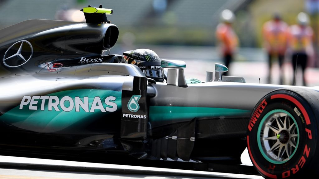 Mercedes AMG Petronas F1 Team's German driver Nico Rosberg drives out of the pit lane during the first practice session ahead of the Formula One Hungarian Grand Prix at the Hungaroring circuit near Budapest, on July 22, 2016.  / AFP PHOTO / ANDREJ ISAKOVIC