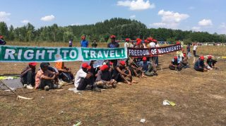 SERBIA, Horgos: Refugees stage a hunger strike against the European Union's immigration policies as hundreds remain campednear the Hungarian border in Horgos, Serbia on July 27, 2016. An estimated 100 migrants have reportedly joined the strike. - Julia Druelle