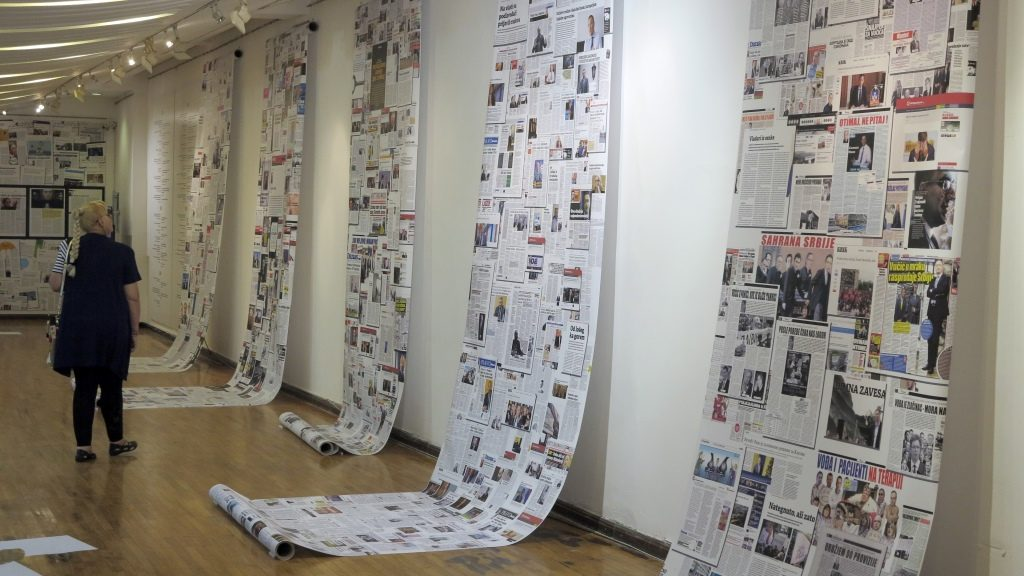 An exhibition with 2,523 media contributions concerns itself with Serbian government leader A. Vucic in a gallery in downtown Belgrade, Serbia, 18 July 2016. Photo:THOMASBREY/dpa
