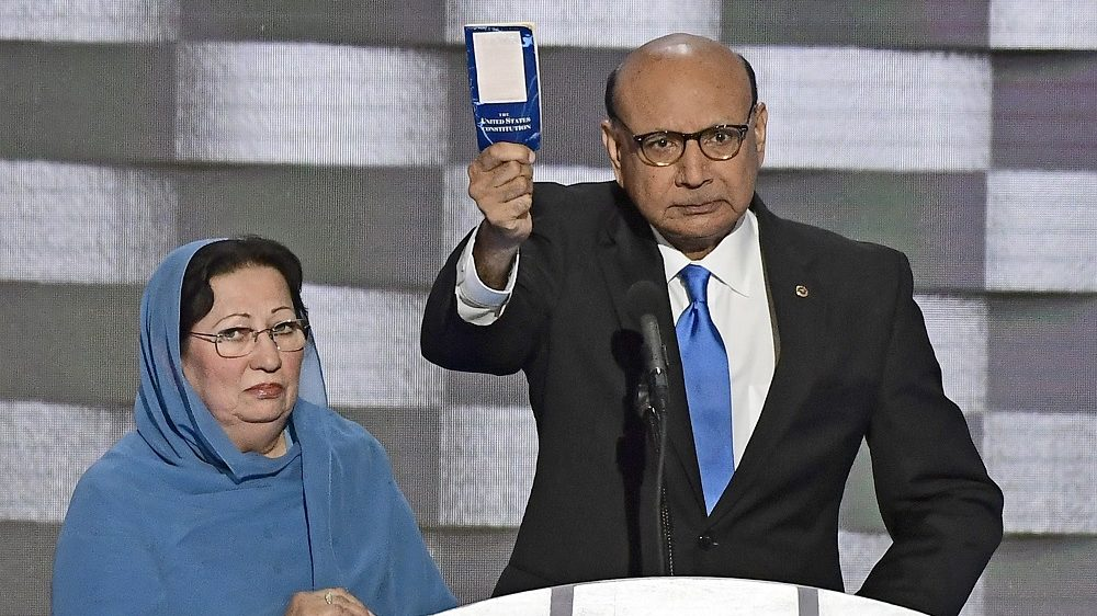 Khizr Khan holds a copy of the US Constitution as he makes remarks during the fourth session of the 2016 Democratic National Convention at the Wells Fargo Center in Philadelphia, Pennsylvania on Thursday, July 28, 2016. Kahn's son, Humayun S. M. Khan was a University of Virginia graduate who enlisted in the US Army and is one of 14 American Muslims who have died serving the United States in the ten years after the September 11, 2001 terrorist attacks. Credit: Ron Sachs / CNP (RESTRICTION: NO New York or New Jersey Newspapers or newspapers within a 75 mile radius of New York City) - NO WIRE SERVICE -