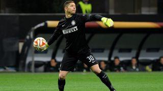 Juan Pablo Carrizo goalkeeper of FC Inter Milan reacts during the UEFA Europa League football match round of 16 second leg between FC Internazionale and VfL Wolfsburg on March 19, 2015 at Giuseppe Meazza stadium in Milan, Italy. Photo Massimo Cebrelli / DPPI