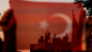 ISTANBUL, TURKEY - JULY 16: People gather to give support to the Turkish President Recep Tayyip Erdogan outside his residence at Kisikli Neighborhood after the failed coup attempt, in Istanbul, Turkey on July 16, 2016. Berk Ozkan / Anadolu Agency