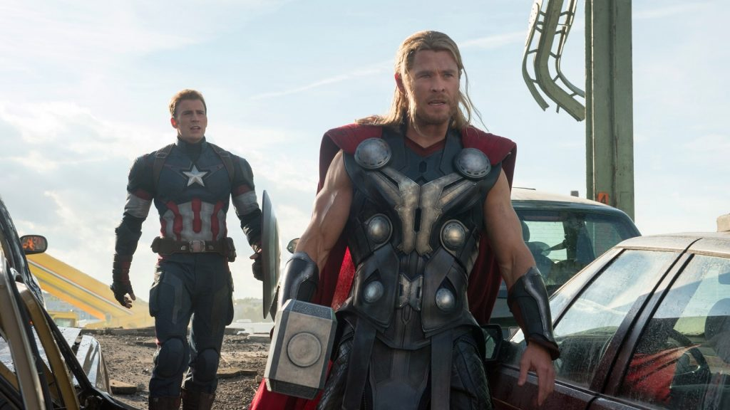 Marvel's Avengers: Age Of Ultron  L to R: Captain America (Chris Evans) and Thor (Chris Hemsworth)  Ph: Jay Maidment  ©Marvel 2015