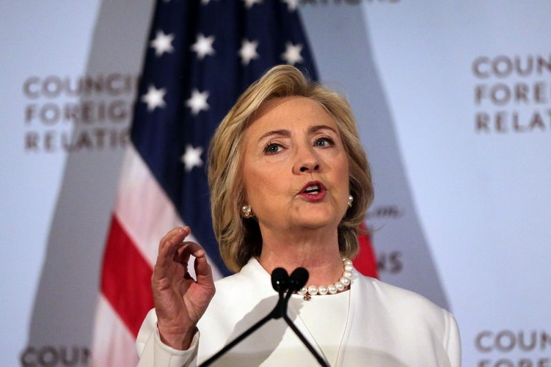 NEW YORK, NY - NOVEMBER 19:  Former Secretary of State Hillary Clinton gives a speech on her approach to defeating the Islamic State terrorist network in Syria, Iraq and across the Middle East at the Council on Foreign Relations on November 19, 2015 in New York City. In the wake of the Paris attacks, for which ISIS has claimed responsibility, the Democratic front-runner for president called for more allied planes and more airstrikes on ISIS as well as an increase in U.S. Special Operations forces and trainers working with regional forces  (Photo by Spencer Platt/Getty Images)