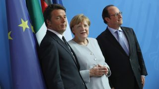 BERLIN, GERMANY - JUNE 27:  German Chancellor Angela Merkel, French President Francois Hollande (R) and Italian Prime Minister Matteo Renzi prepare to depart after speaking to the media during talks at the Chancellery on June 27, 2016 in Berlin, Germany. The three leaders are meeting to discuss the consequences of last week's Brexit vote, in which a slim majority of voters in the United Kingdom voted for leaving the European Union, ahead of tomorrow's summit on the matter in Brussels.  (Photo by Sean Gallup/Getty Images)