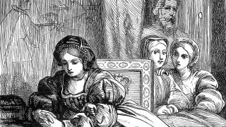 51133264 - an engraved vintage illustration image of anne boleyn, queen of england, uk, in the tower of london, from a victorian book dated 1868 that is no longer in copyright