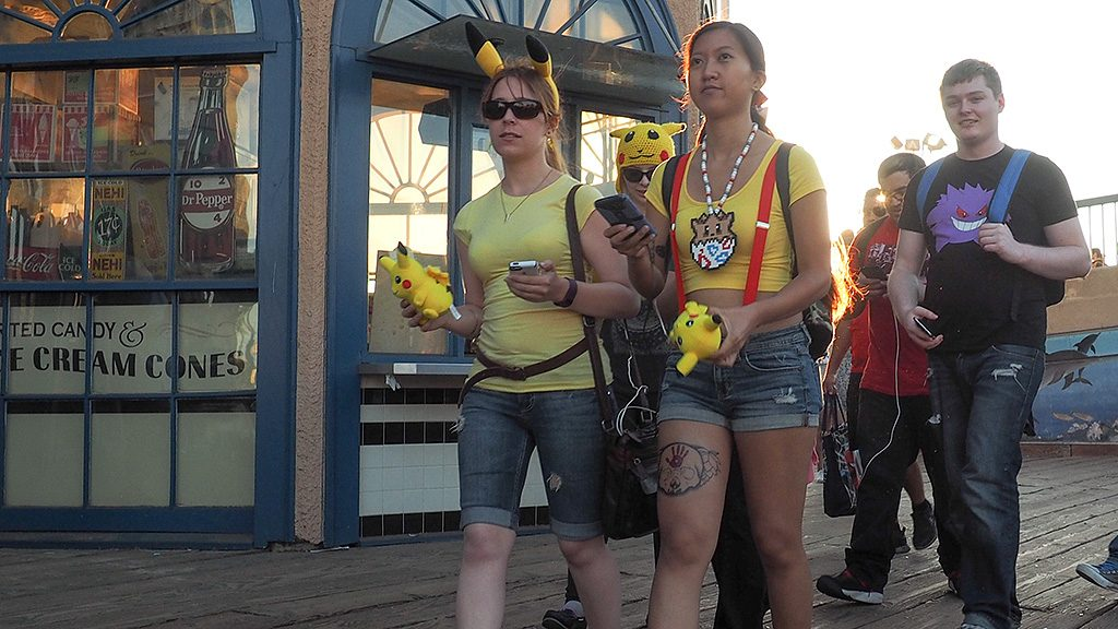 LOS ANGELES, CA - JULY 17: Pokemon Go players are seen in search of Pokemon and other in game items at the Santa Monica Pier on July 17, 2016 in Los Angeles, California.  (Photo by PG/Bauer-Griffin/GC Images)