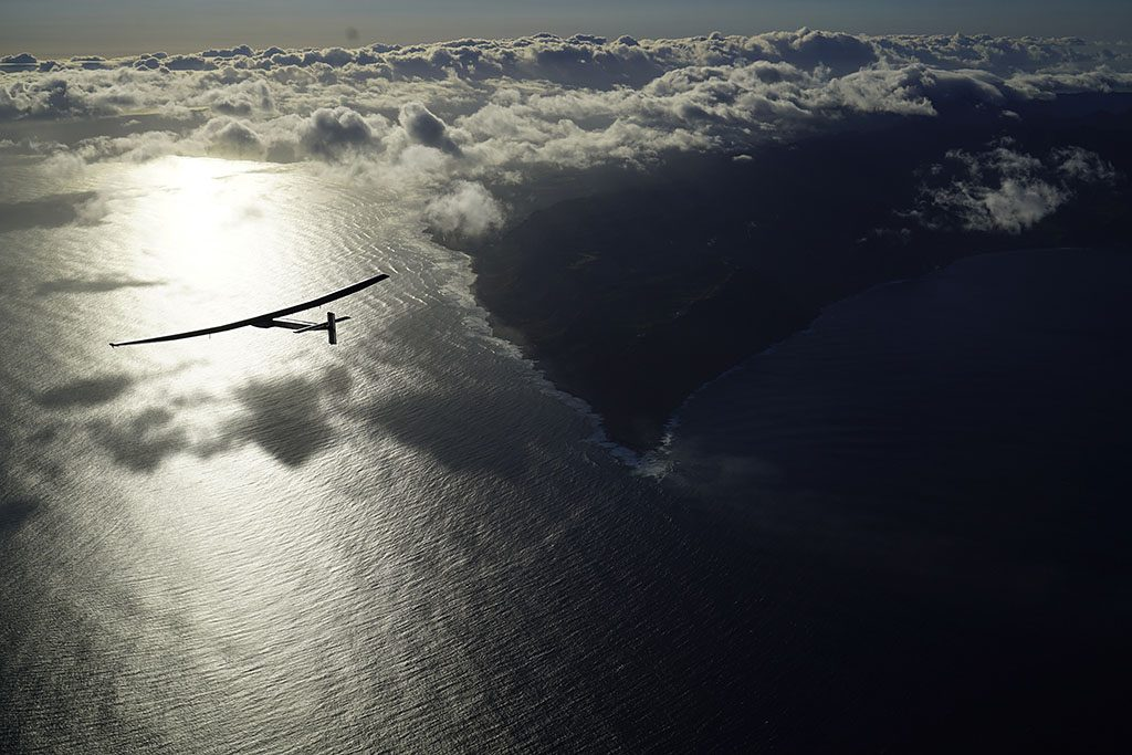 "O'AHU, HAWAII - APRIL 21: In this handout image supplied by Solar Impulse 2/GNR, ""Solar Impulse 2"", a solar powered plane piloted by Swiss Bertrant Piccard, is seen in the air after successfully taking off from Kalaeloa Airport, on April 21, 2016 in O'ahu, Hawaii. The Solar Impulse 2 is bound for a non-stop, three day flight expected to cover about 2,336 miles to San Francisco. (Photo by Jean Revillard/Solar Impulse 2/GNR via Getty Images)"