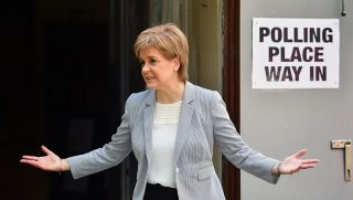 GLASGOW, UNITED KINGDOM - JUNE 23:  SNP Leader Nicola Sturgeon casts her vote in the EU referendum at Broomhouse Community Hall on June 23, 2016 in Glasgow, Scotland. Voters across the country are beginning to cast their votes in the referendum on whether the UK should leave the European Union or remain.  (Photo by Jeff J Mitchell/Getty Images)