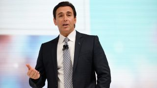 NEW YORK, NY - MARCH 23: President and Chief Executive Officer of Ford Motor Company Mark Fields introduces the a concept model of the new Lincoln Navigator at the New York International Auto Show at the Javits Center on March 23, 2016 in New York, NY. The new Lincoln Navigator, which features gullwing doors, was introduced by Fields and actor Matthew McConaughey.   Bryan Thomas/Getty Images/AFP / AFP PHOTO / GETTY IMAGES NORTH AMERICA / Bryan Thomas