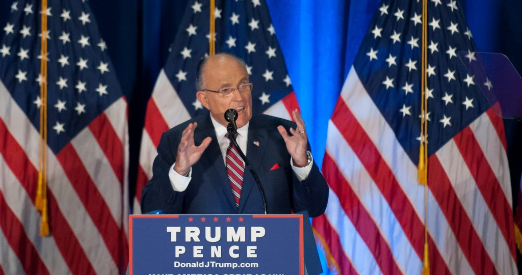 YOUNGSTOWN, OH - AUGUST 15: Former New York Mayor Rudy Giuliani speaks to attendees before Republican presidential candidate Donald Trump outlined his foreign policy strategy at a campaign event at the Kilcawley Center at Youngstown State University in Youngstown, Ohio on August 15, 2016.   Jeff Swensen/Getty Images/AFP / AFP PHOTO / GETTY IMAGES NORTH AMERICA / JEFF SWENSEN