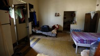 A picture shows a room used by trafficked women at the three-story Chez Maurice Hotel, which was used by sex traffickers as a brothel, in the Maameltein district of the coastal town of Jounieh, north of Beirut on April, 14, 2016. Lebanese security forces busted a sex trafficking ring involving 75 Syrian women trafficked to Lebanon from their country and forced into prostitution. / AFP PHOTO / JOSEPH EID