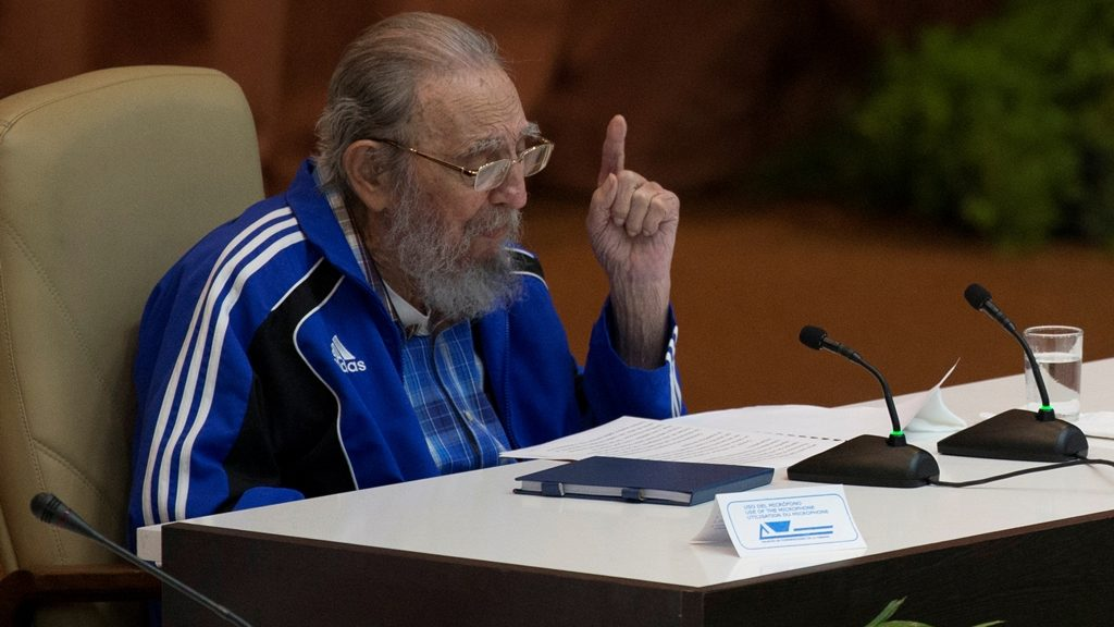 """Handout picture released by Cuban official website www.cubadebate.cu showing Cuban former President Fidel Castro speaking during the closing ceremony of VII Congress of the Cuban Communist Party (PCC) at the Convention Palace in Havana, on April 19, 2016. """"Cuba will never permit the application of so-called shock therapies, which are frequently applied to the detriment of society's most humble classes,"""" said Raul Castro in a lengthy speech opening the congress, which takes place every five years and will stretch on for several days. / AFP PHOTO / ACN / ISMAEL FRANCISCO / RESTRICTED TO EDITORIAL USE - MANDATORY CREDIT """"AFP PHOTO / WWW.CUBADEBATE.CU / ISMAEL FRANCISCO"""" - NO MARKETING NO ADVERTISING CAMPAIGNS - DISTRIBUTED AS A SERVICE TO CLIENTS"""