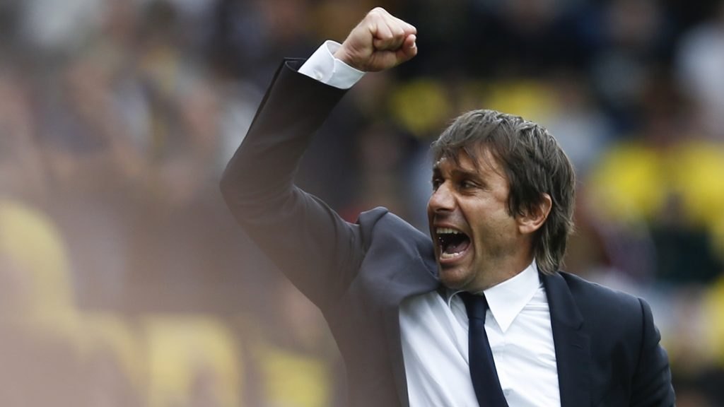 Chelsea's Italian head coach Antonio Conte reacts at the final whistle on the touchline during the English Premier League football match between Watford and Chelsea at Vicarage Road Stadium in Watford, north of London on August 20, 2016. / AFP PHOTO / Ian Kington / RESTRICTED TO EDITORIAL USE. No use with unauthorized audio, video, data, fixture lists, club/league logos or 'live' services. Online in-match use limited to 75 images, no video emulation. No use in betting, games or single club/league/player publications.  /
