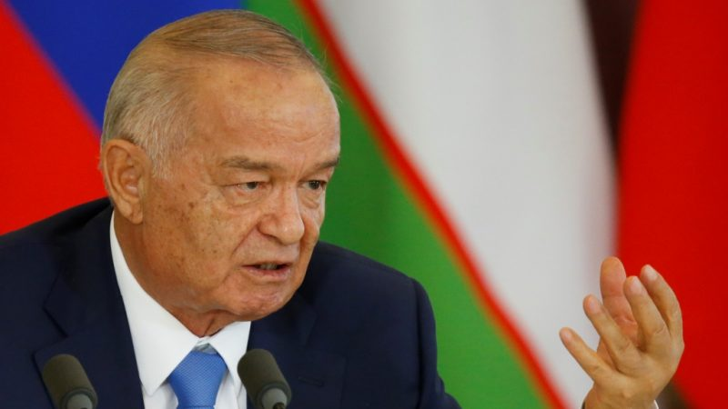 (FILES) This file photo taken on April 26, 2016 shows Uzbek President Islam Karimov speaking during a press conference in Moscow on April. Strongman Uzbek President Islam Karimov is in intensive care after suffering a brain haemorrhage, his younger daughter wrote on social media on August 29, 2016. Authoritarian leader Karimov has long been the subject of rumours of ill health that are difficult to verify, since information in the Central Asian country is very tightly controlled. He has held power in the strategic country bordering Afghanistan since before it gained independence from Moscow in 1991.  / AFP PHOTO / POOL / MAXIM SHEMETOV