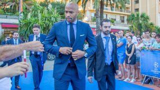 MONACO, Monte Carlo: Former French football player Thierry Henry arrives at the UEFA Champions League group stage draw in Monaco on August 25, 2016. - Grégory Kapriélian