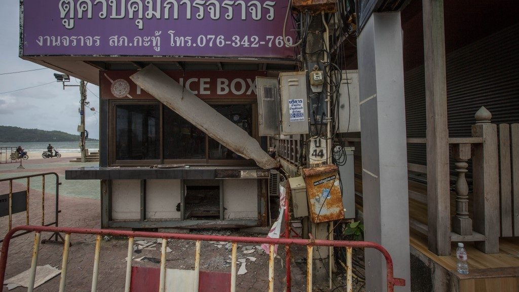 PHUKET, THAILAND - AUGUST 12: A general view of the Police box station is seen near the scene of a blast at Patong beach on Phuket (847 kilometers south of Bangkok) on August 12, 2016. A series of bomb blasts targeted four cities in southern Thailand overnight as the country prepared to celebrate the birthday of its queen, killing at least three people and injuring around 35.   Guillaume Payen / Anadolu Agency