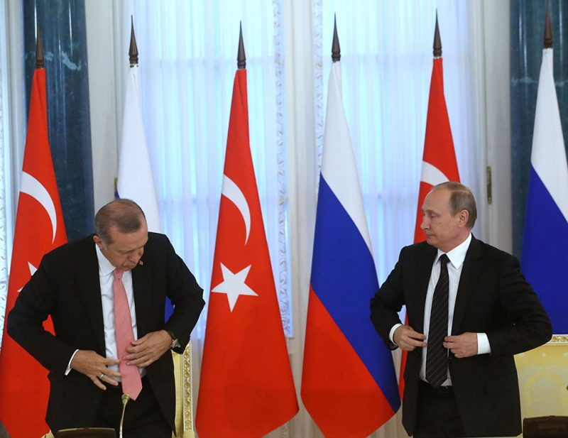 SAINT PETERSBURG, RUSSIA - AUGUST 9:  (RUSSIA OUT) Russian President Vladimir Putin (R) and Turkish President Recep Tayyip Erdogan (L) seen during their press conference in Konstantin Palace in Strenla, Saint Petersburg, August,9, 2016. President of Turkey is having a one-day visit to Putin's hometown. (Photo by Mikhail Svetlov/Getty Images)